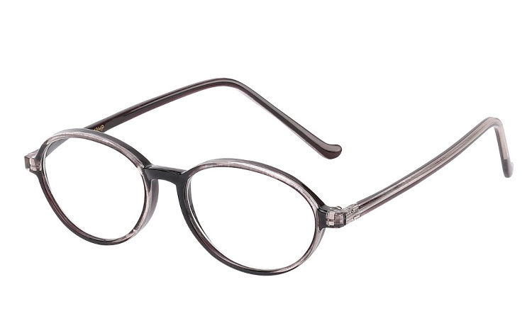 Oval brille i grå-sort stel - Design nr. b197