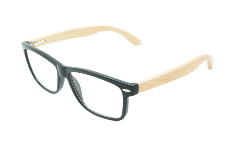 Smart og stilren brille. Sort med lyse bambus stænger - Design nr. b201