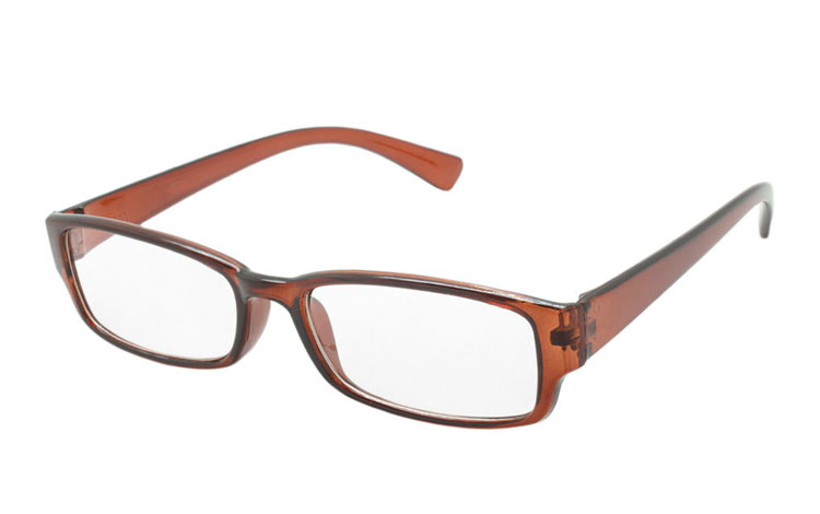Orangebrun transparent brille med styrke - Design nr. b235
