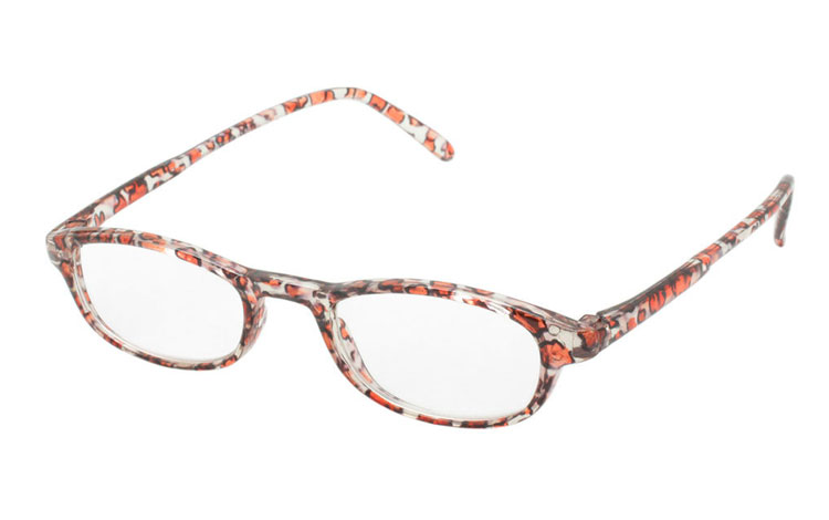 Hverdagsbrille i orange-transparent dyreprint - Design nr. b245