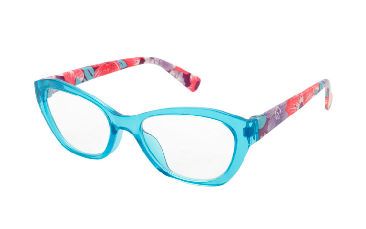 Skøn lyseblå flower power brille - Design nr. b277