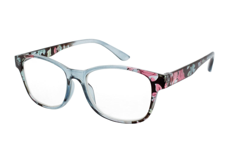 Lys grå transparent brille med blomsterprint - Design nr. b325