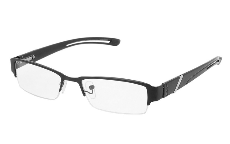 Sort metal brille i smalt design - Design nr. b372