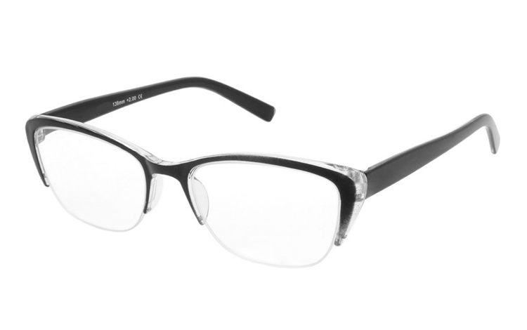 Flot brille i transparent og sort plastik stel - Design nr. b439